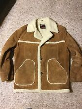 Vtg mens Richman Brothers Suede sherpa fuzzy lined retro Coat jacket sz Medium