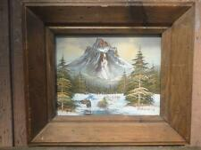 VINTAGE ORIGINAL OIL PAINTING ON CANVAS SIGNED WITH FRAME BEAUTIFUL RIVERSCAPE