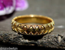 EXQUISITE FINEST SOLID 22K GOLD INTRICATE GRANULATION BAND RING HAND MADE sz6.75