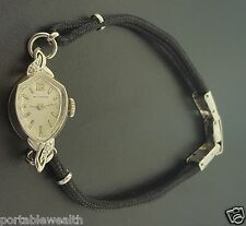 Wittnauer Diamond Vintage Ladies Wrist Watch 14K White Gold Rope Band Cal 5D