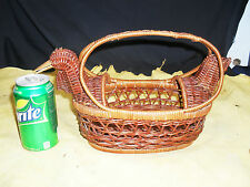 Decorative Hand Crafted Wicker Basket Duck, Rooster or Turkey Shape