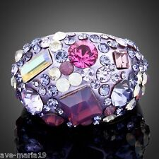 Platinum Plated Full Multicolour Swarovski Stellux Austrian Crystal Women's Ring