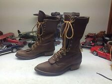 GOLDEN RETRIEVER USA BROWN LEATHER LACE UP KILTIE WESTERN GRANNY BOOTS 7M
