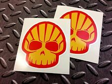 SHELL SKULL Car Motorcycle Helmet Stickers Decals 2 off 80mm