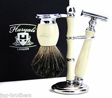 CLASSIC DESIGN SHAVING SET BADGER BRUSH & SAFETY RAZOR WITH STAND/HOLDER