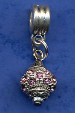 SPARKLING RHINESTONE DANGLE CHARM BEAD BAIL FIT EUROPEAN BRACELET PINK & SILVER
