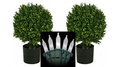 "2 ARTIFICIAL 20"" OUTDOOR BOXWOOD UV TOPIARY TREE BUSH BALL CHRISTMAS LIGHTS DECK"