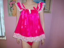 PRETTY BABY DOLL FUCHSIA  SATIN SISSY DRESS AND PANTY  SIZE 1X