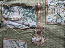 Bishop St Apparel Cotton Hawaiian Camp Shirt XL Guitar palm tree ocean ukulele