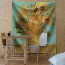 """""""Sunflowers"""" by Vincent van Gogh - Fabric Tapestry, Home Decor - 51x60 inches"""