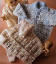 "Baby Boy Girl Children Sweater Cardigan Vintage Knitting Pattern 18-24"" DK L1006"