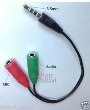 3.5mm Audio Mic Y Splitter Cable Headphone Adapter Male To 2 Female