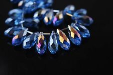 15Ps Dark Blue AB Glass Crystal Faceted Teardrop Pendant 8x16mm Spacer Findings