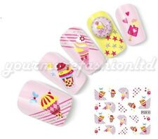 NAIL ART WATER TRANSFER STICKERS DECALS CAKE AND BIRTHDAY STYLE (D40)