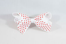 Unit of 10 Medium 3 Inch White with Small Red spots Hair Bow clip Grosgrain