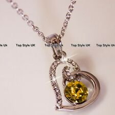 Heart Necklace Citrine Gold Diamond Love Pendant Xmas Gifts for Her Women Mum J1