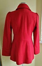 Guess Womens Red Wool Toggle Button Hooded coat Jacket Size S/M