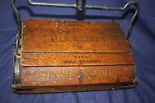 1912 Bissell carpet sweeper Wood Oak & iron ball bearing 104 Yr OLD Antique