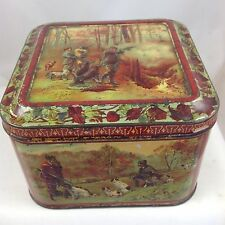 """HUNTLEY AND PALMER  """"WITH DOG AND GUN"""" BRITISH BISCUIT TIN c1899"""