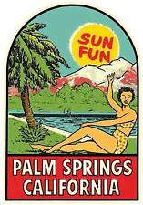 Palm Springs  California   Vintage Looking  Travel Decal   Label  Bumper Sticker