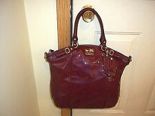 Authentic Coach Madison Lindsey Orchid Patent Leather Shoulder Bag Tote 18627