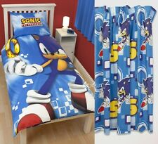 "Sonic Spin Single Panel Duvet and Matching 66 x 72"" Curtains Set Hedgehog"