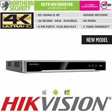 4K UHD H.265 8CH 8 POE 12MP HIKVISION DS-7608NI-i2-8P 8 CHANNEL NVR VCA ONVIF