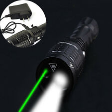 Rechargeable LTS LED+Green Laser Zoomable Flashlight Torch Lamp+AC Charger+18650