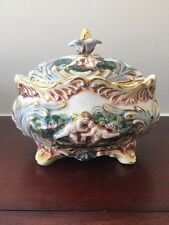 Vintage R Capodimonte Putti Hand Painted Large Porcelain Casserole Pot Dish