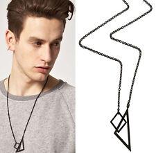 Men Fashion Punk Jewelry Square Triangle Pendant Retro Chain Sweater Necklace