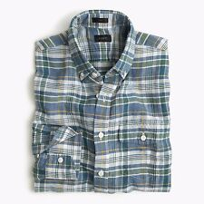 BRAND NEW J.Crew SLIM END-ON-END IRISH COTTON-LINEN SHIRT IN FERN PLAID / MEDIUM