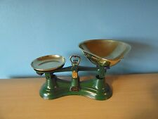 Salter No 56 green Cast metal Kitchen Balance Scales & brass weight tray & scoop