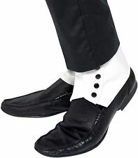 Mens WHITE Spats Shoe Covers Roaring 20s Gangster Adult Costume Spat Capone NEW