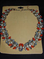 COLLIER PERLES PIERRES ORANGE PEARL JEWEL FLOWER NECKLACE CELEBRITY BLOGGERS