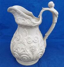 Antique Ridgway Stoneware High Relief Drab Ware Pan & Bacchus Jug Pitcher 1830