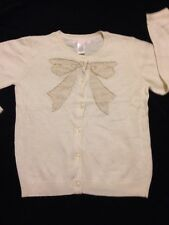 Janie And Jack 5T, Girls Cream Color Long Sleeve Cardigan sweater