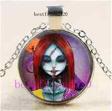 Nightmare Before Christmas Sally Cabochon Glass Silver Pendant Necklace#D90