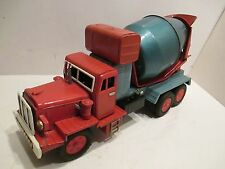 """CEMENT TRUCK LARGE 13"""" LONG GOOD CONDITION ALL TIN MADE IN JAPAN"""