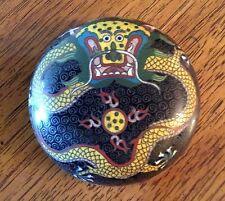 "Antique Chinese Cloisonné Enamel Enamaled Celestial Dragon Round  Box 4"" x 2.5"""