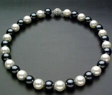 Real 10mm Black & White Sea Shell Pearl Necklace 18'' A++