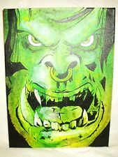 Canvas Painting World Of Warcraft Orc Face Art 16x12 inch Acrylic