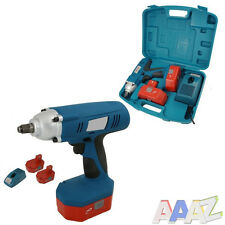 "HEAVY DUTY 24V 1/2"" DRIVE CORDLESS IMPACT WRENCH RATCHET & 2 BATTERIES"