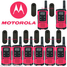 Motorola Talkabout T107 Walkie Talkie 8 Pack Set 16 Mile Two Way Radios Pink New