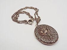 Vintage Sterling Silver Open Filigree Oval Flower Design Locket Pendant Necklace