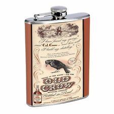 Old Crow Kentucky Whiskey Vintage Ad D26 8oz Flask Stainless Steel Brown & Tan