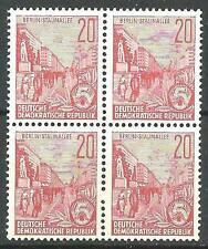 Germany DDR 1957 Sc# 333 Berlin 20pf perf 14 GDR block 4 MNH