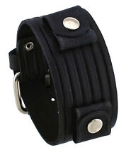 Nemesis VEB-K Groove Pattern Wide Black Leather Cuff Wrist Watch Band