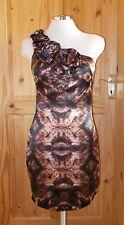 black brown leopard satin one-shoulder asymmetric party evening dress S 8-10