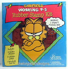 BNIP XX-Rare GARFIELD WORKING 9-5 Sayings Cat Rubber Stamp Kit RUBBER STAMPEDE