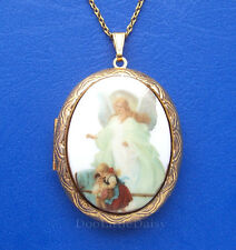 Christian Porcelain GUARDIAN ANGEL CAMEO GT Locket Necklace WB for Birthday Gift